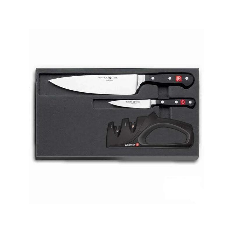 Conjunto de duas facas e afiador Wüsthof Classic