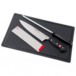 Promoción Cuchillo Chef + funda + Chaira + tabla corte