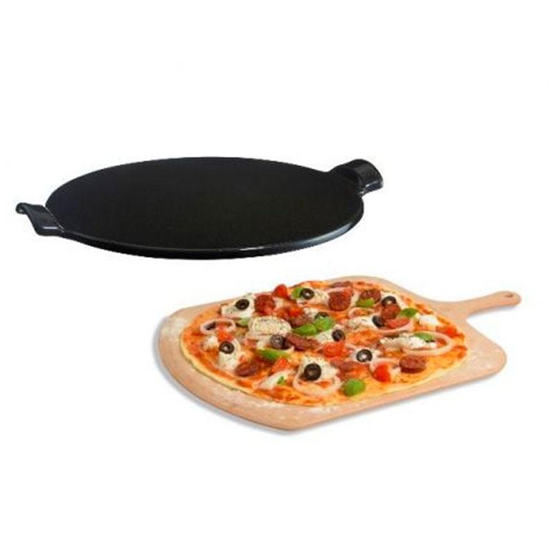 Conjunto presente pedra para pizza e tábua em madeira Emile Henry