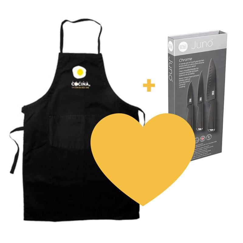 Pack cuchillos y delantal Canal Cocina