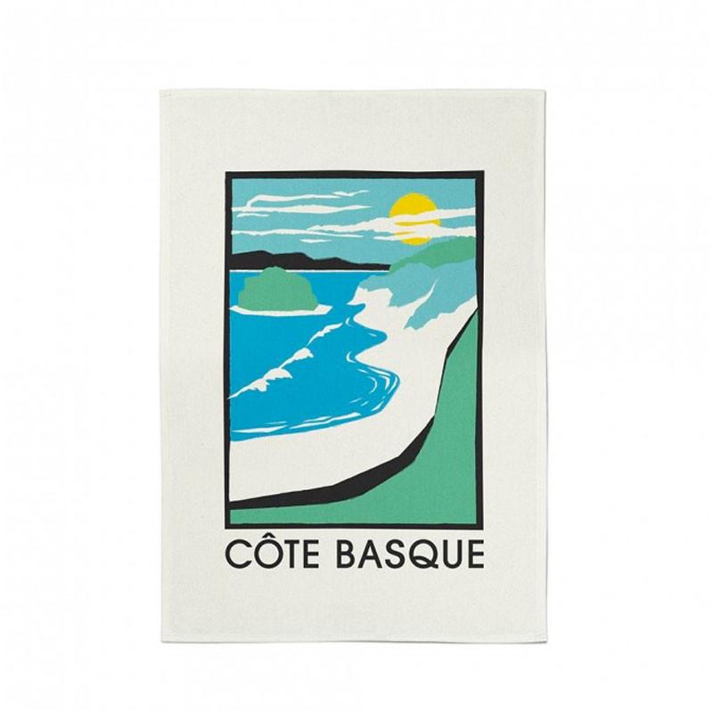 Paño de cocina Côte Basque verde-azul de Jean Vier