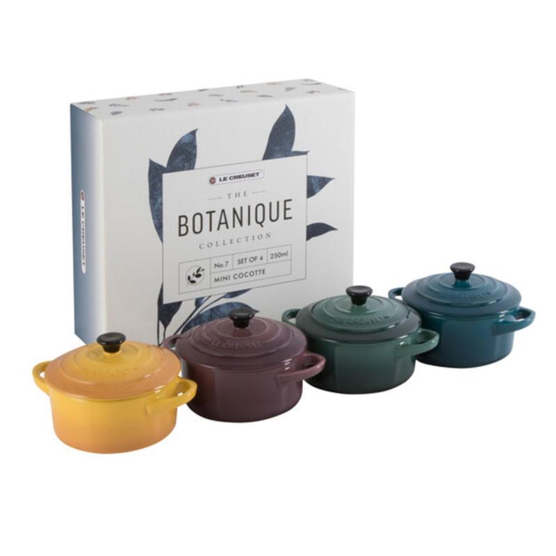 Conjunto de 4 Mini Cocottes Redondas Botanique Le Creuset
